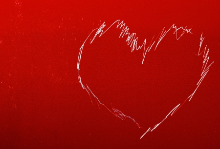 pattern in shape of heart scratched on a aluminium can Stock Photo - 17219139