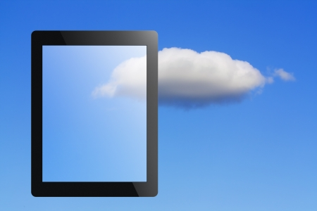 tablet pc and cloud as concept of a cloud computing Stock Photo - 17219271