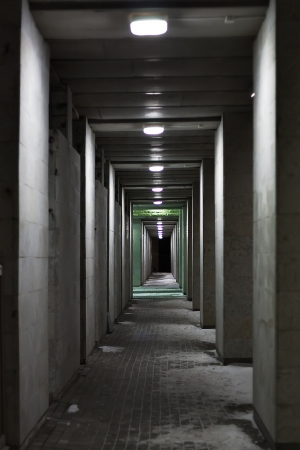tunnel in the dark at night photo