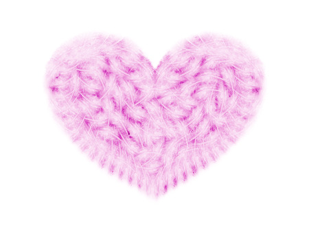 purple feathers in a shape of heart on white,  Radiant Orchid  is the color of the Year 2014 photo