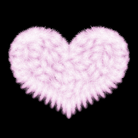 pink feathers on the black background in a shape of heart,  Radiant Orchid  is the color of the Year 2014 photo