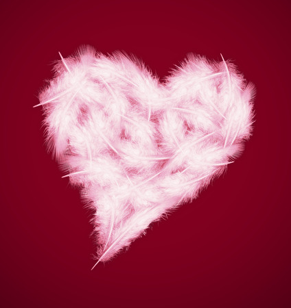 feathers in the shape of heart on a red background photo