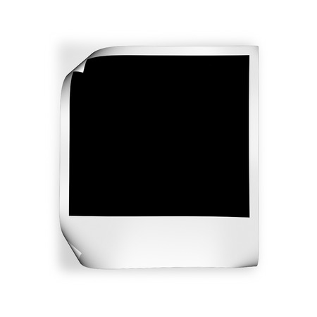 black picture frame: blank photo with curled angles on white