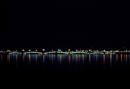 abstract boke - bridge, lights and reflection on a water, natural photo image photo