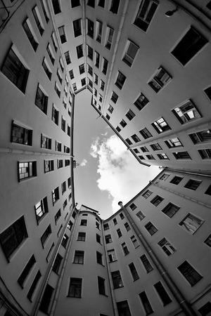 fisheye: courtyard in St. Petersburg, fisheye lens, black and white Stock Photo