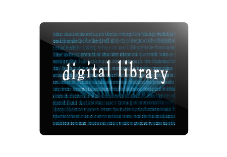 digital book: tablet pc, tablet computer or digital book with abstract words and named digital library