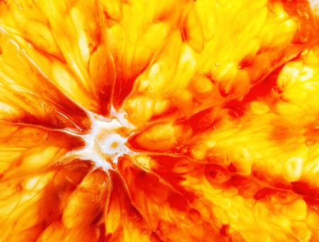 naranja fruta: fondo anaranjado de la rebanada de una fruta de naranja Foto de archivo