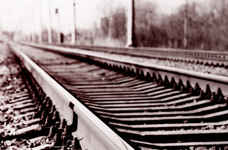 travel concept - railroad tracks, unique perspective