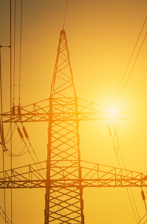 siluetas: Landscape with Power Line on sunset