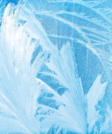 windowpane: frost pattern on a windowpane closeup, high key effect Stock Photo