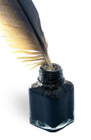 inkwell: inkwell and pen feather on white background