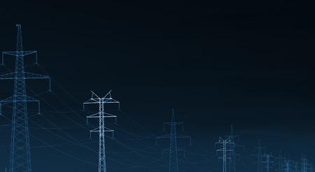 siluetas: landscape with Power Line, x-ray effect
