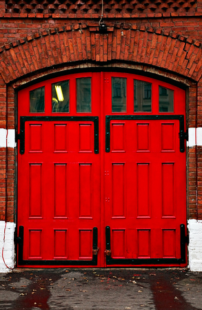 red door: red door of an old Fire Station