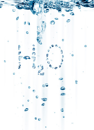 fluidity: water bubbles with shape H2O - chemical formula of water Stock Photo