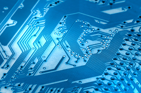 computer system: Electronic circuit board close up. X-ray effect. Stock Photo