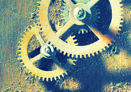 color tone: dirty ancient mechanism close up, retro style color tone Stock Photo