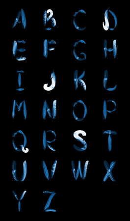 x rays negative: typographics - alphabet from feathers of birds, x-ray effect