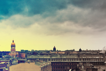 kazanskiy: Panorama of St. Petersburg with famous buildings: Vladimir Church, Kazanskiy Kafedralniy Sobor and Saint Isaacs Cathedral. Vintage effect photo.
