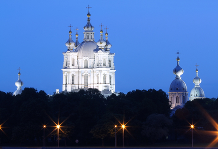 bartolomeo rastrelli: white nights in St. Petersburg, Russia. Smolny Cathedral, architect Francesco Bartolomeo Rastrelli. Stock Photo