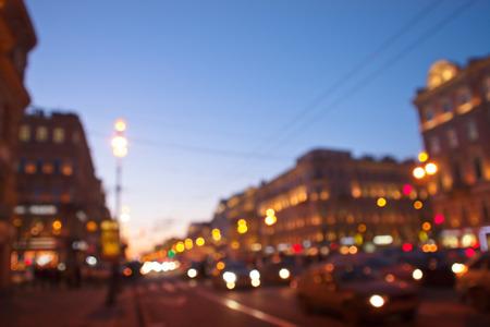 defocused night city life, white nights in St. Petersburg, Russia