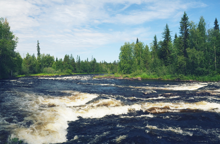 russian federation: scandinavian landscape - rapids on the river in Karelia, Russian Federation