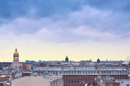kazanskiy: panorama of St. Petersburg with famous buildings: Vladimir Church, Kazanskiy Kafedralniy Sobor and Saint Isaacs Cathedral