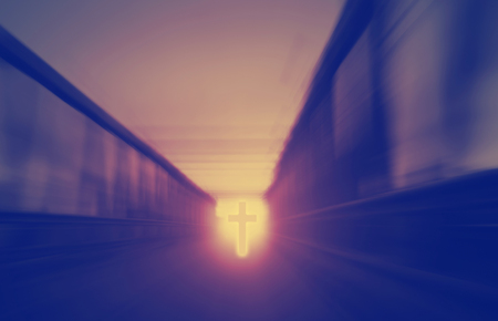 christianity religion concept, road tunnel in afterlife, cross sign on the background