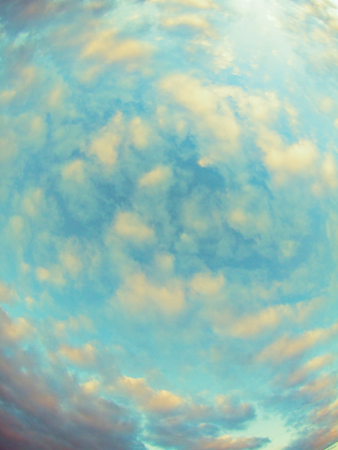 heaven with clouds on sunset, wide angle view, vintage effect Stock Photo