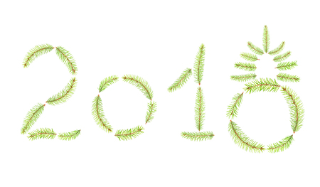 fir branches in the form of 2018 isolated on white background, symbol of the New Year and Merry Christmas  Stock Photo