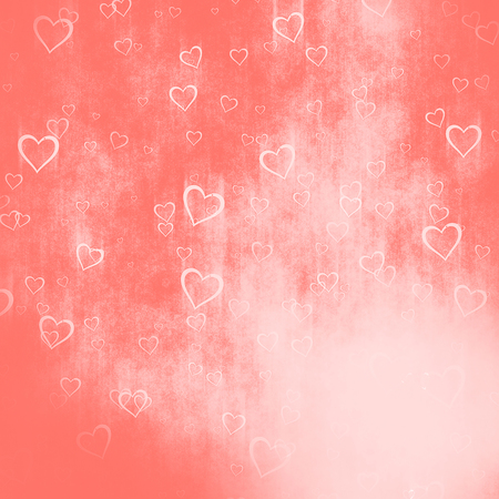grunge background from hearts, living color tone, Valentines day concept