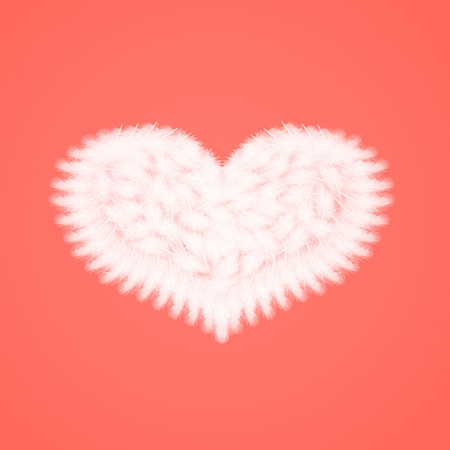 white feathers in the shape of heart on the living coral background, love theme, valentines day
