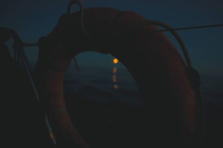 night in the sea, travel concept, yachting