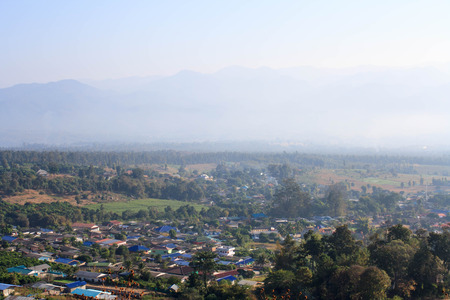 soft peak: Pai view in winter at morning, Thailand. We will see the village in the morning mist. During the call, it will fade. Stock Photo