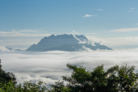 View high mountains covered with fog at Huai Nam Dang Thailand. photo