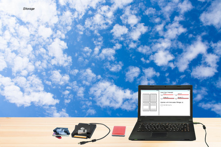 Current data storage technology, cloud storage. photo
