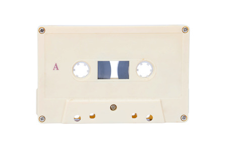 The Old audio tape cassette on white background. photo