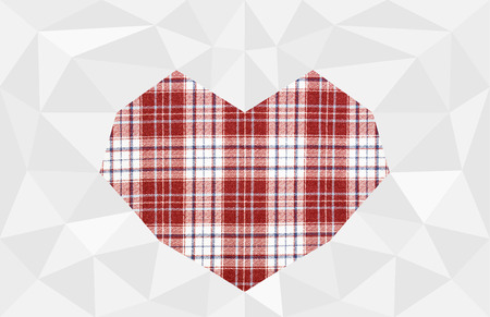 chequer: Red cloth tartan on polygon white background with clipping heart shape. Stock Photo