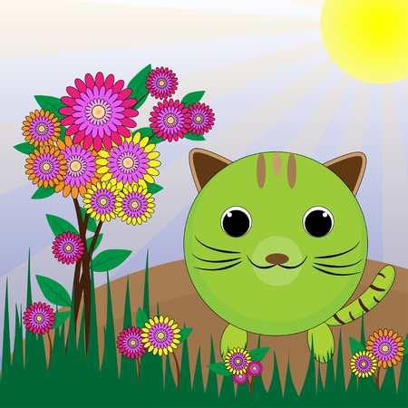 world agricultural: Cat in the garden amid the fresh air flower garden and save world. Illustration