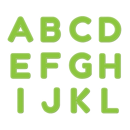 seam: Vector green font with seam on transparent background