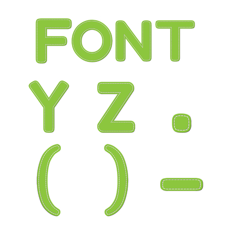 parentheses: Vector green font with seam on transparent background