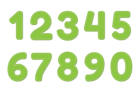 0 9: Green numbers 0 - 9 on white background
