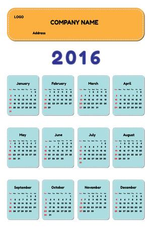 plain stitch: Template 2016 calendar weeks start from Sunday Illustration