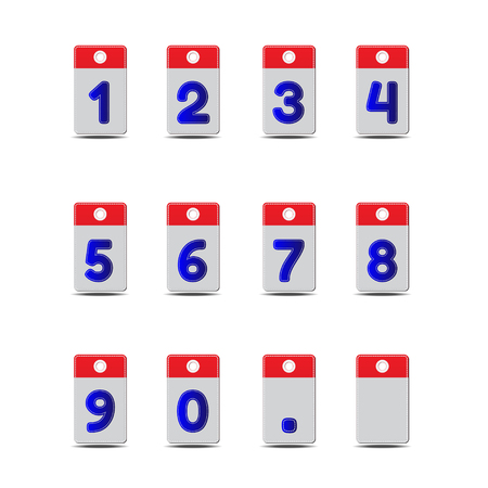 seam: Vector dark blue Number with seam in tag on white background