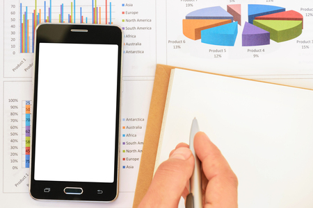 registrar: Smart phone put on the summary report for business background