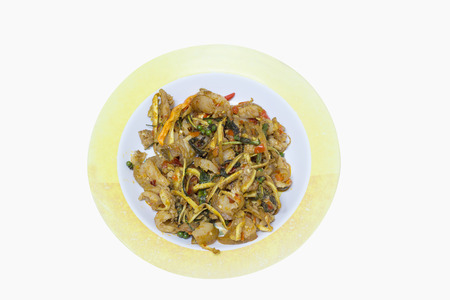 belly pepper: Stir Fried Wild Boar with Red Curry in plastic dish isolated on white background