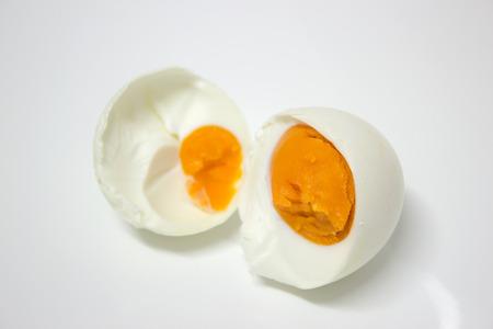 duck egg: preserved boiled duck egg on white background