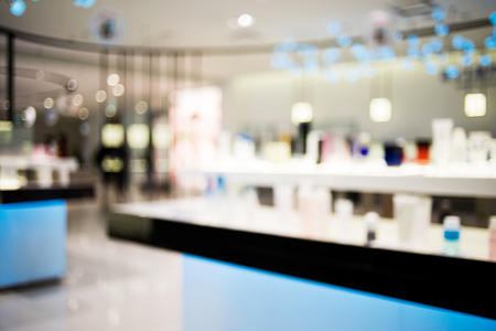 of cosmetics: Blur Cosmetics store with bokeh background