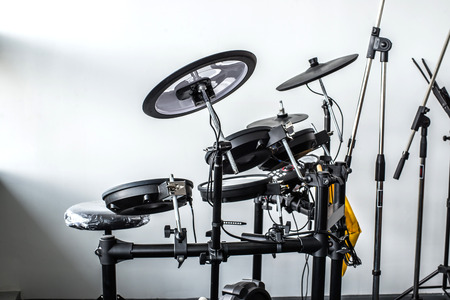 Electronic drum set in a small room