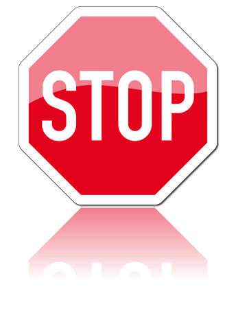 with stop sign: road sign Stock Photo