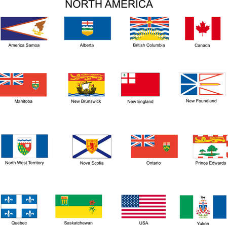 north america: flags Illustration